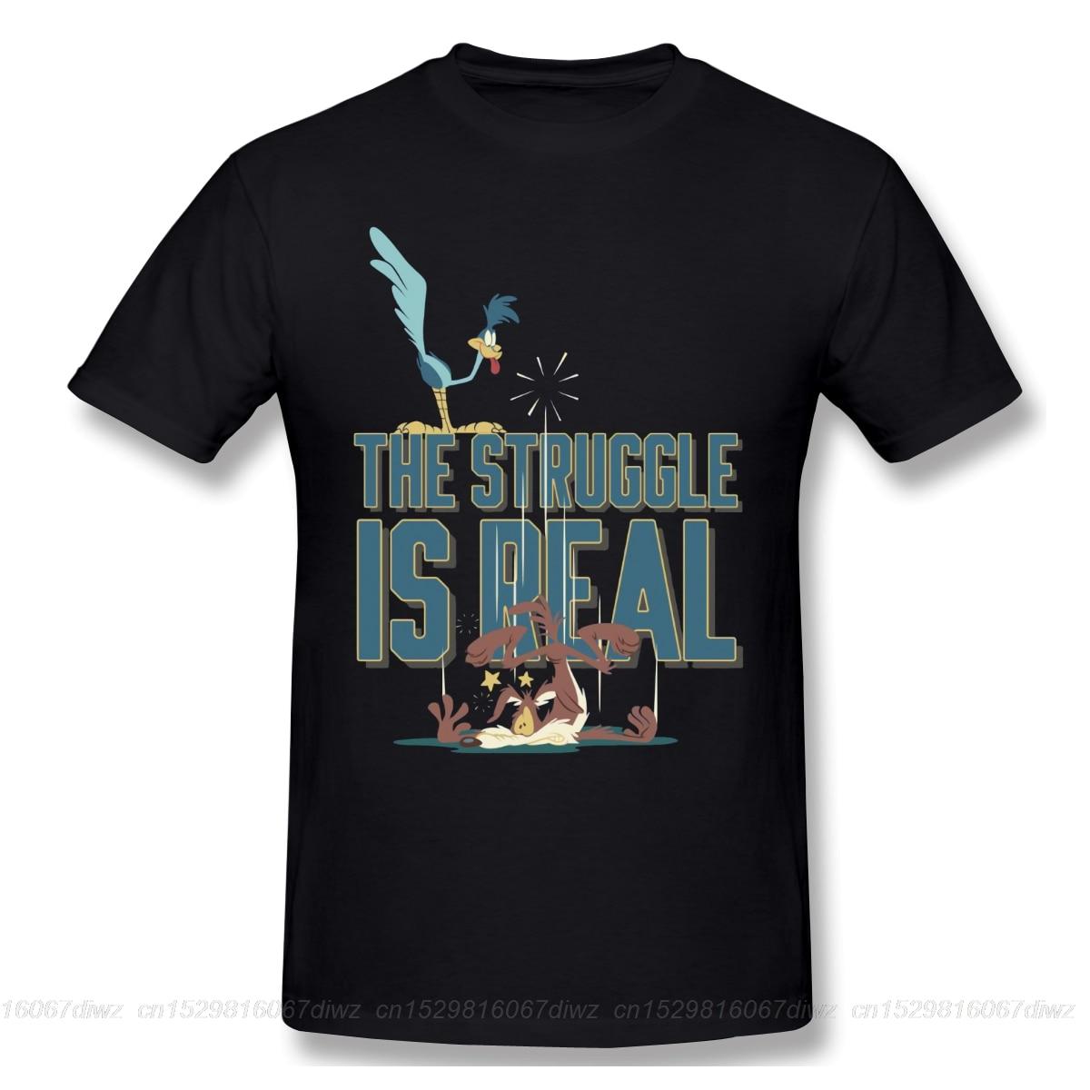 La lucha es camino Real corredor Wile E Coyote imprimir nueva Camiseta de algodón de verano divertida moda de hombres ofertas Streetwear marca Tide