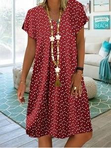 Элегантное женское платье 2018 с v-образным вырезом и принтом в форме сердца винтажное платье с принтом модное Повседневное платье размера плюс 2020