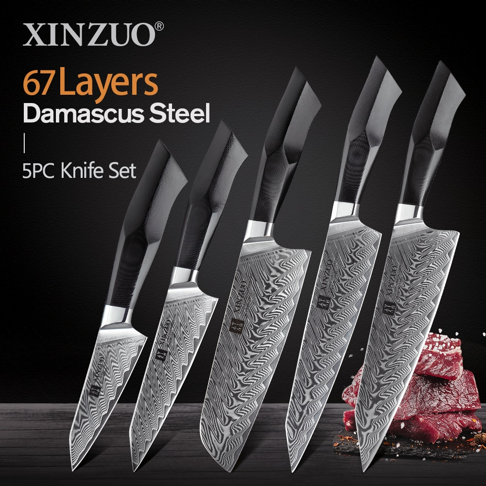 XINZUO 5 قطعة طقم السكاكين G10 مقبض vg10 دمشق الصلب عالية الكربون اليابانية مطبخ الشيف السكاكين مجموعة الفولاذ المقاوم للصدأ سكين 2020