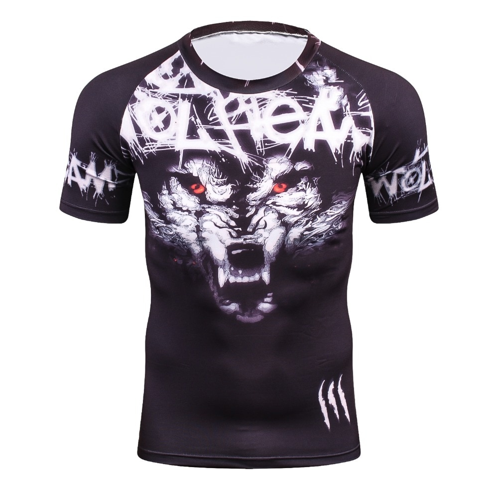 3D Summer Compressed T-shirt Men's New Arrival Brand Funny Wolf Men's T-shirt Tops Wholesale T-shirts High Quality Quick Dry