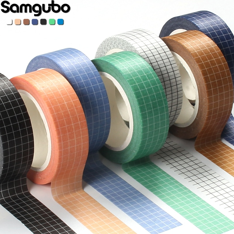 10M Pure Color Grid  Washi Tape Set Masking Tape Journaling Supplies Washy Tape Organizer Washitape Stationery Sticker Scrapbook