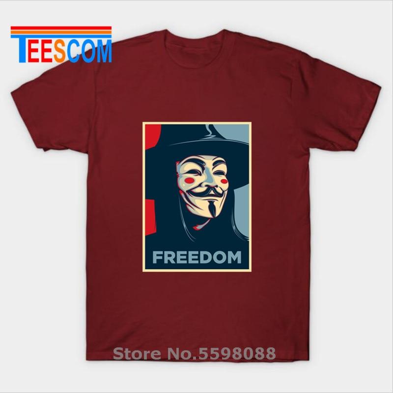 Negro T camisas V vendetta Anonymous máscara de Guy Fawkes en libertad y la revolución camisetas O cuello Retro T superior 3XL