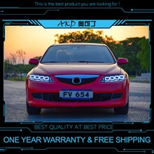 AKD ضبط السيارات العلوي لمازدا 6 Mazda6 2004-2015 المصابيح الأمامية LED DRL تشغيل أضواء ثنائية زينون شعاع الضباب أضواء عيون الملاك