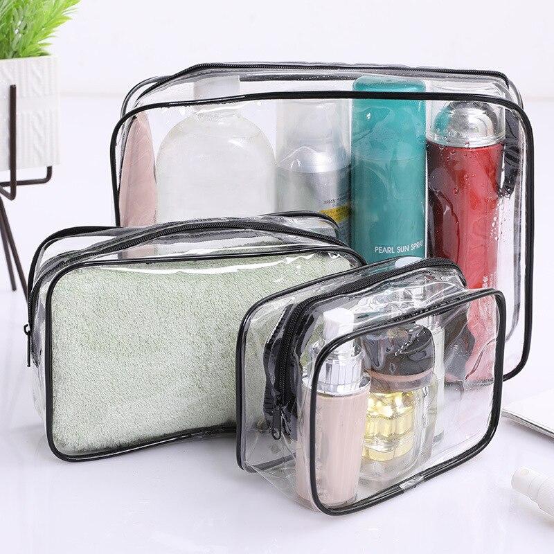 1 Pc Transparent PVC Makeup Bag Cosmetic Bag Beauty Case Toiletry Bag Makeup Pouch Cosmetic Organize