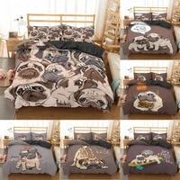 3d print cartoon pug dog bedding sets 23 pieces bed cover set king queen duvet cover home luxury custom bedspread pillowcase