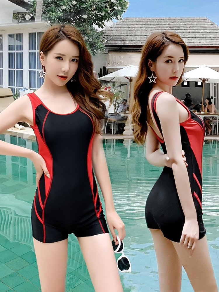 Hot spring bathing suit female conjoined belly slim sexy conservative professional boxer swimsuit student large size swimwear enlarge