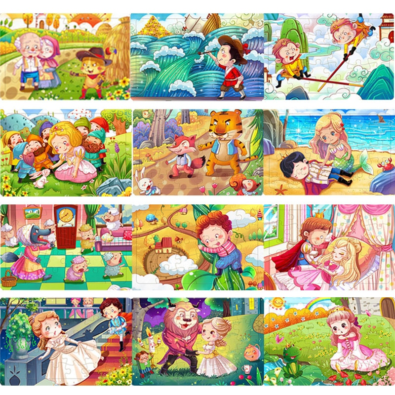 3D Puzzles Wood Jigsaw Puzzle for Kids 30Pieces Blocks Cognitive Education Baby Toys Cartoon Animals