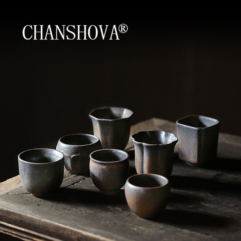 CHANSHOVA-أكواب سيراميك صينية ، 50-90 مللي ، ريترو ، صناعة يدوية ، كوب شاي خشن ، درجة حرارة عالية ، H486