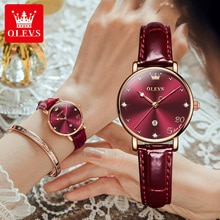 OLEVS Luxury Women's Watches Waterproof Leather Quartz Wrist Watch For Women Business Ladies Watch C