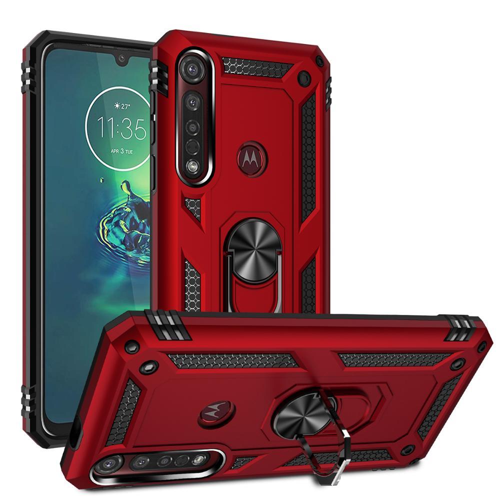 Fundas a prueba de golpes Kickstand para Motorola Moto G8 Plus grado militar 360 grados funda con anillo magnético parachoques G8Plus Fundas Skins