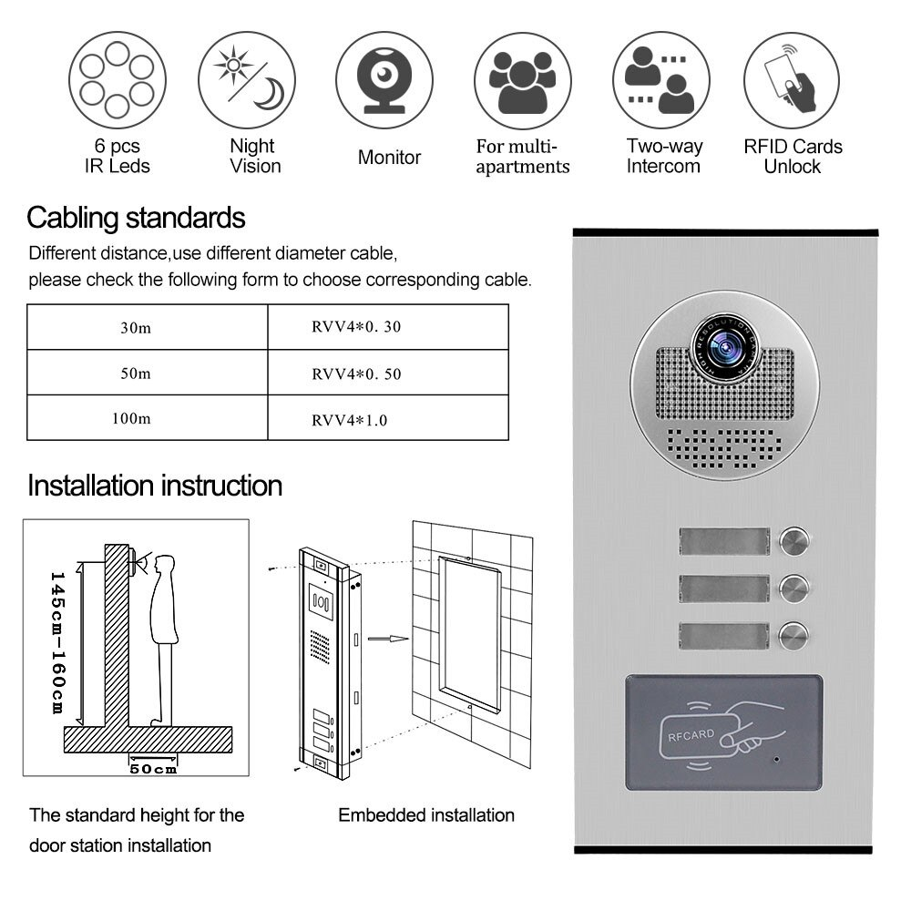 Hands Video Door Phone Doorbell Camera Outdoor Unit RFID Keyfobs Unlock for Low-rise Building Multi 2/ 3/ 4/ 6/ 8 Apartments enlarge