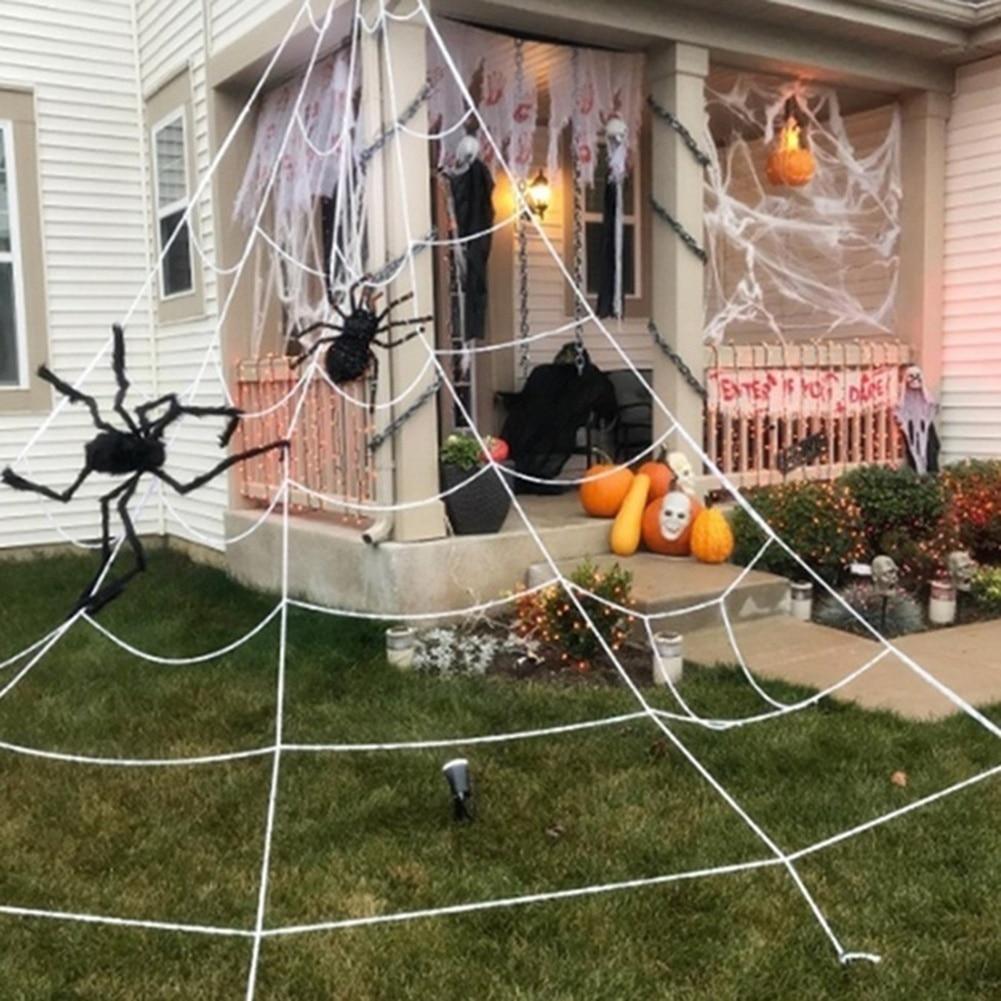 Telaraña blanca gigante, arañas, decoraciones para exteriores, jardín, Casa Encantada, accesorios de decoración de Halloween