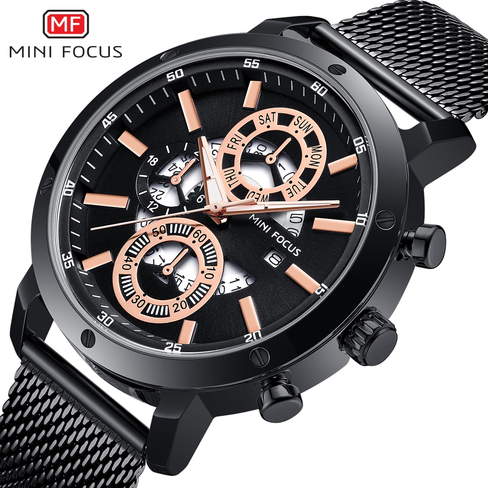 MINIFOCUS Fashion Men Sports Watches Quartz Stainless steel Watch Clock Top Brand Luxury Military wristwatch Relogio Masculino