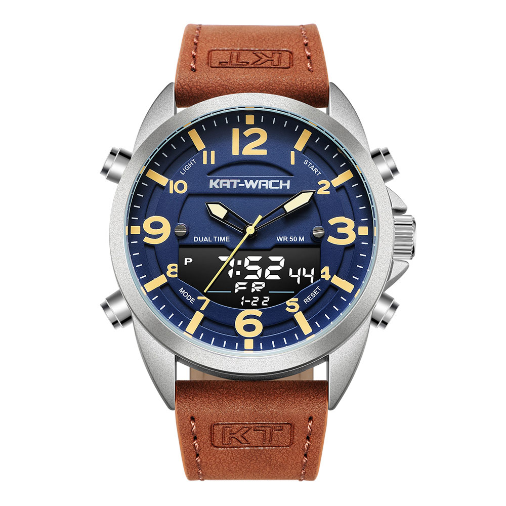 Мужские часы KT, кварцевые, аналоговые, цифровые, водонепроницаемые, с кожаным ремешком, 2020