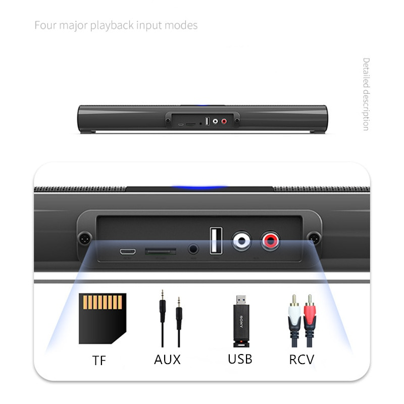 Wireless Bluetooth Speaker Home Theater TV Sound Bar TWS Stereo Surround Subwoofer with RGB Colorful Lighting FM Radio for PC TV enlarge
