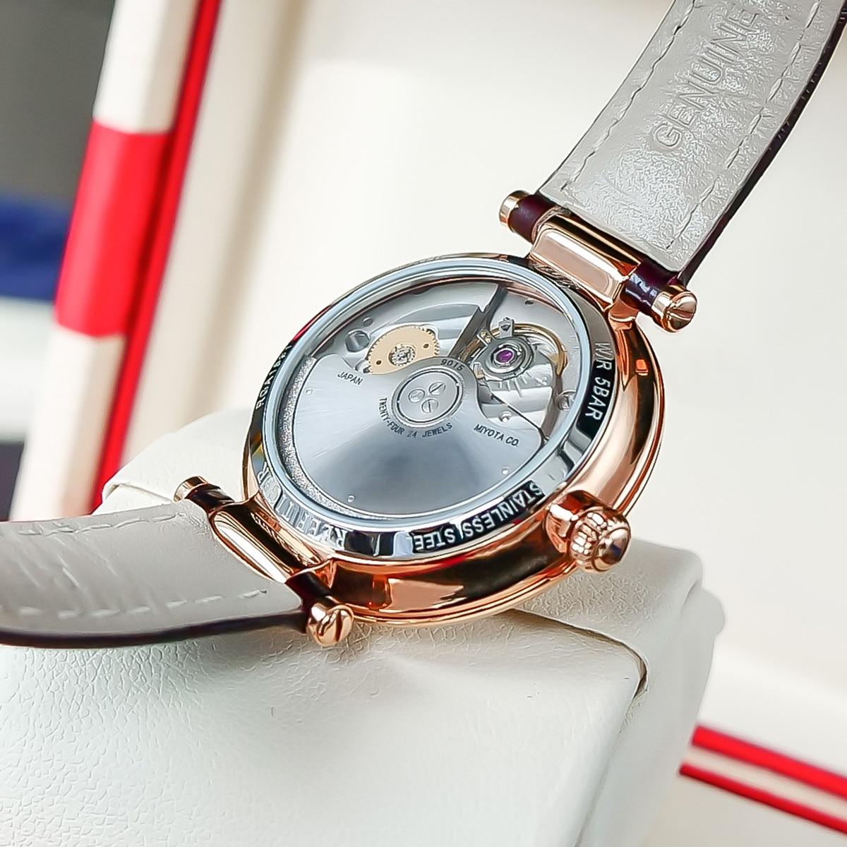 Reef Tiger/RT Luxury Automatic Day Date Watch Steel Waterproof Blue Genuine Leather Women Watches Relogio Feminino Gift RGA1595 enlarge