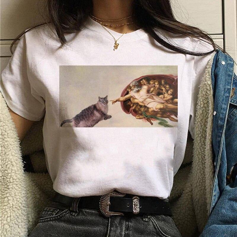 Camiseta con estampado moderno de verano para mujer, ropa informal de talla...