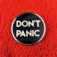 funny dont panic enamel pin badge brooch fashion jewelry backpack hat accessories unique gift