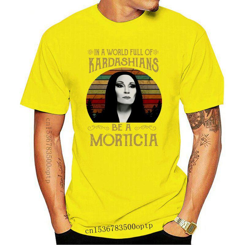 Morticia Addams In The World Full Of Kadarshians Men Black T Shirt Cotton S 4Xl