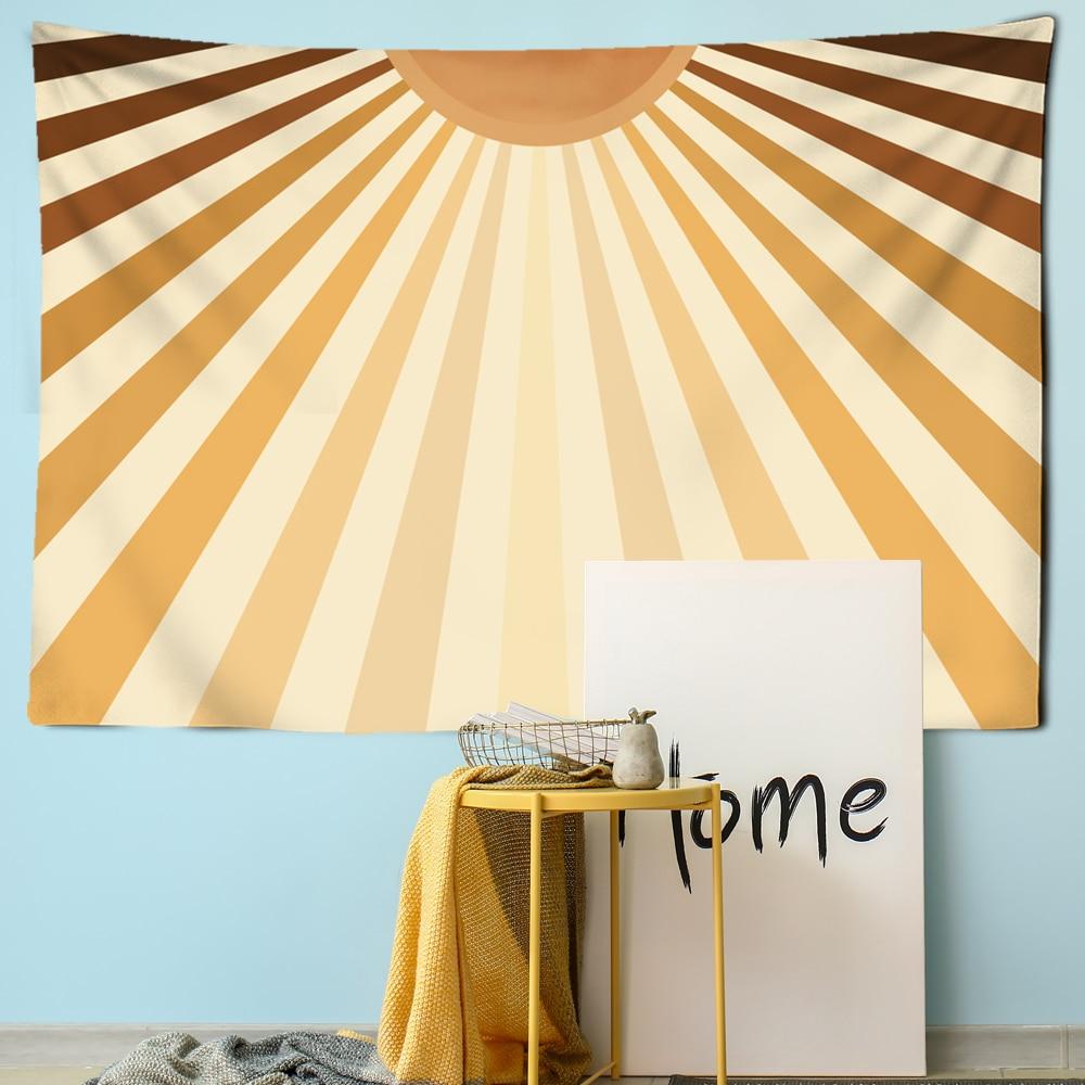 Гобелены на солнечной батарее, скандинавские гобелены для гостиной, геометрические желтые полосатые комнатные солнцезащитные лучи, креати...