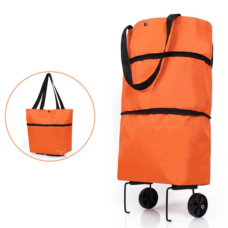 De compras plegable carrito de tirón bolsa con ruedas de compras plegable bolsas de comestibles comida organizador bolsa para vegetales