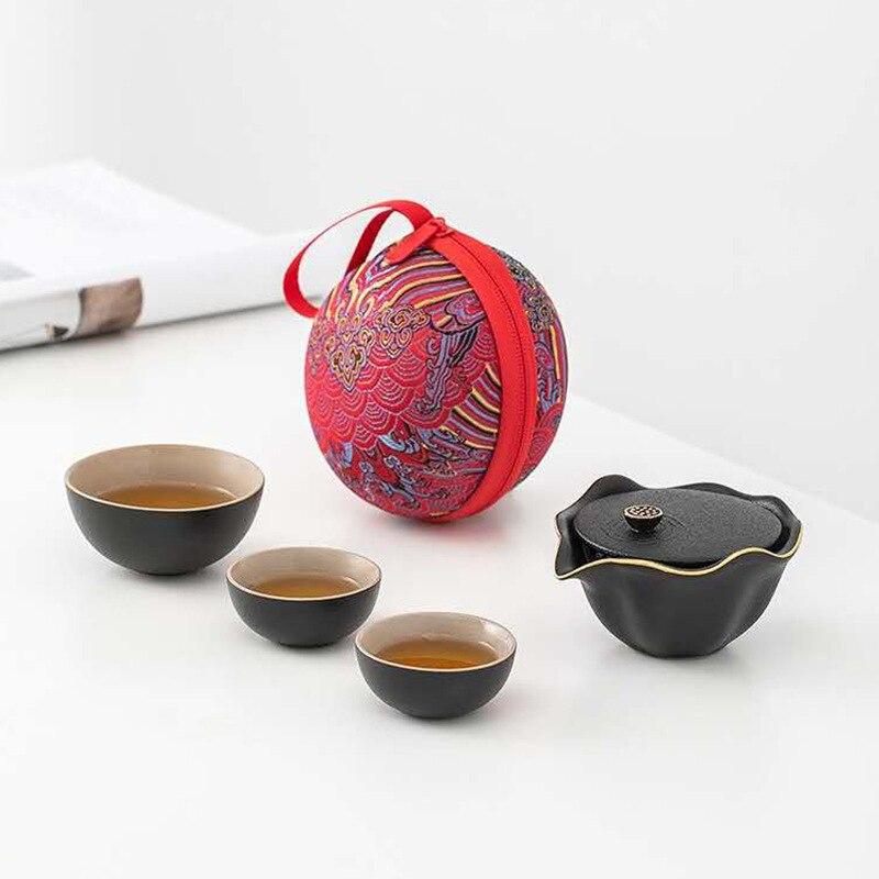 طقم شاي صيني, طقم شاي صيني طقم شاي الكونغ فو من السيراميك طقم تخمير شاي بسيط للسياحة الخارجية طقم أكواب شاي