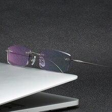 ZIROSAT 2230 Alloy Titanium Glasses Men New European Design Square Rimless Prescription Eyeglasses E