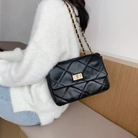 small chain pu leather crossbody bags for women 2020 branded trending quilted designer handbags trend luxury lock hand bag