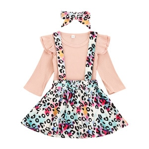 Girl's 6M-4T Skirt Three Piece Suit Fashion Solid Color Long Sleeve T-shirt Leopard Suspender Skirt and Headband