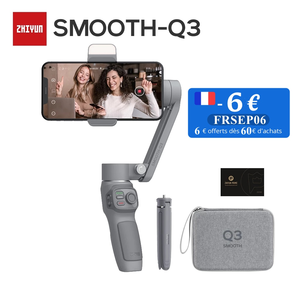 Promo Zhiyun Smooth Q3 3-Axis Smartphone Gimbal Stabilizer with Light Auto Inception Object Tracking for iPhone 12 11 PRO MAX Android