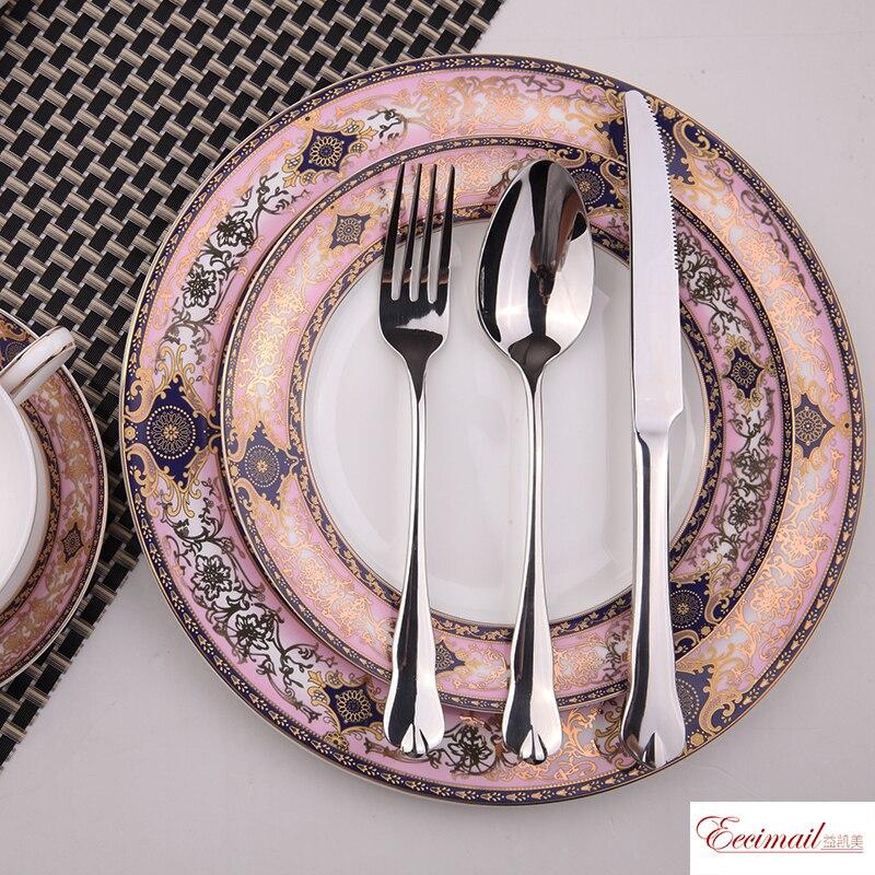 EECAMAIL الوردي ساحر النمط البريطاني العظام الصين طبق ستيك أدوات المائدة المنزل قصر الحياة رائعة الوردي الأميرة حلم الرومانسية