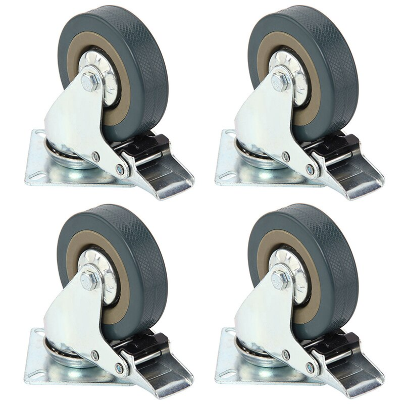 De servicio pesado 50x17mm de goma giratoria ruedas Carro de rueda de freno de 30 KGModel 4 con freno