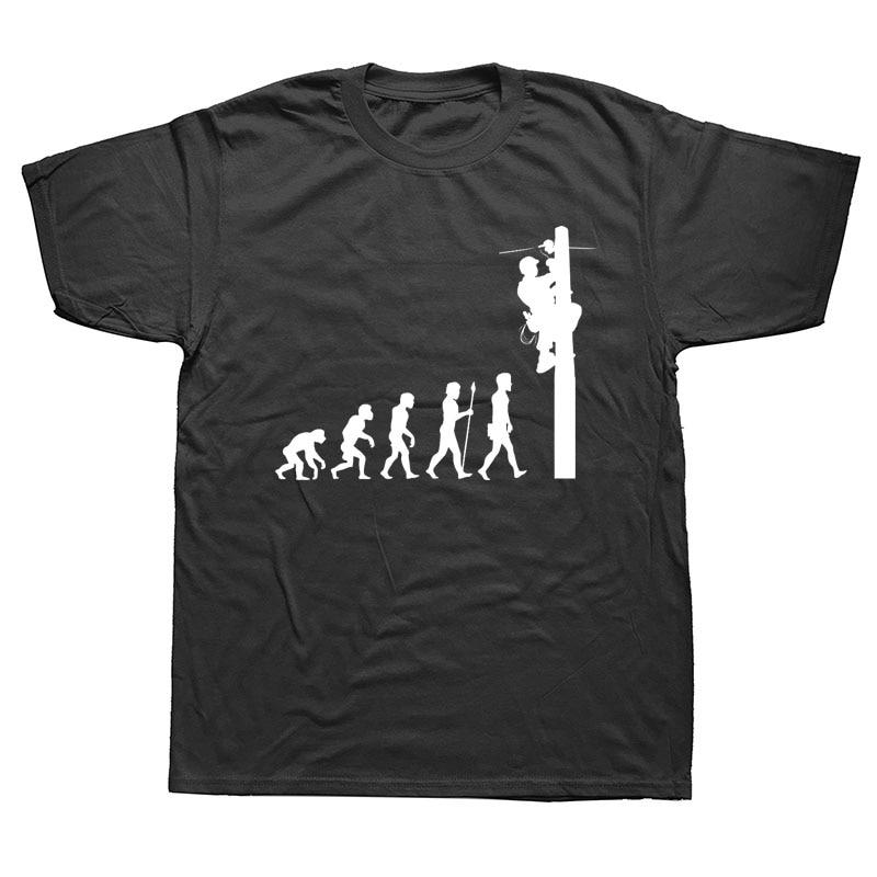 Evolution Of Lineman T-Shirt Funny Birthday Gift Electrician Men Dad Papa Father Husband Short Sleeve O Neck T Shirt
