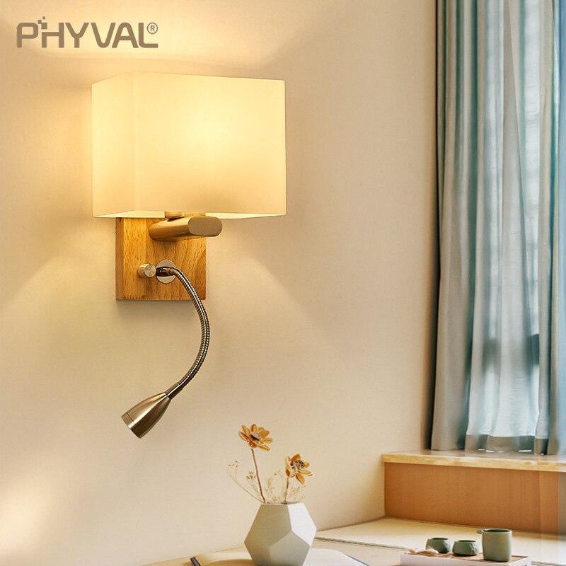 nordic lampada de parede moderna tecido sombreamento luzes led lampadas parede madeira