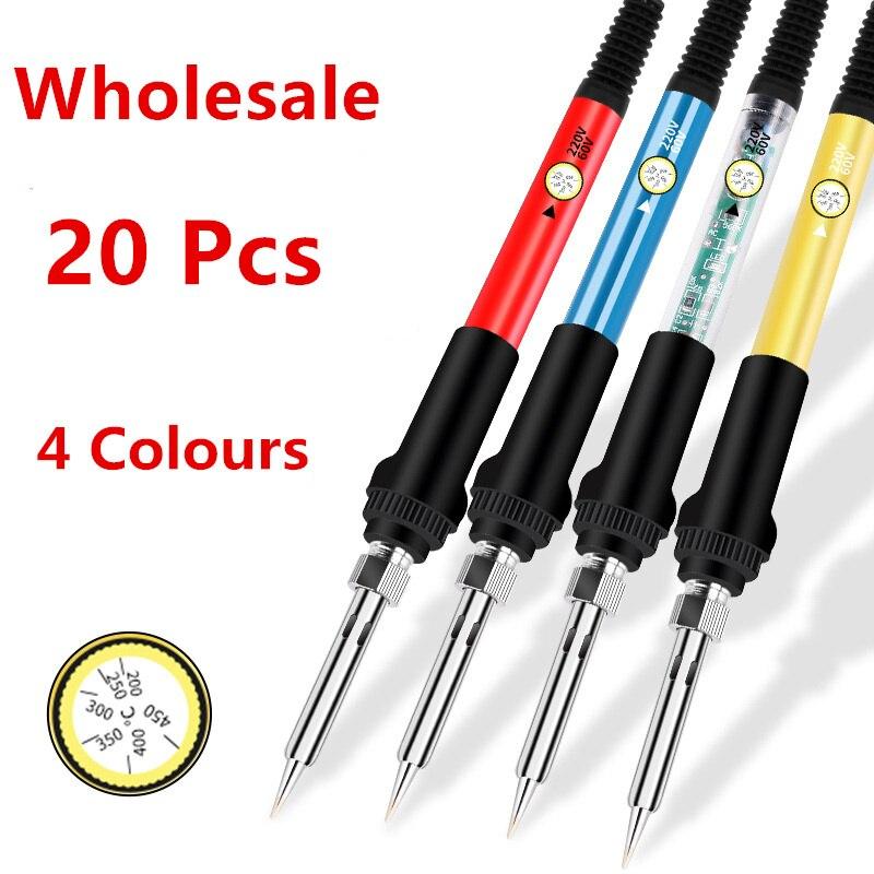 Wholesale 20pcs 60W Electric Soldering Iron Adjustable Temperature 220V / 110V Welding Solder iron Rework Station Desoldering