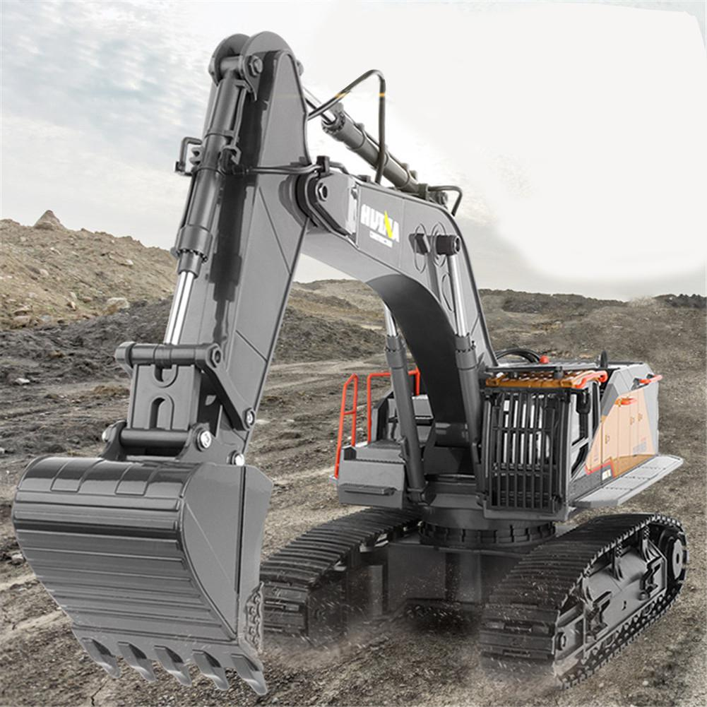 HuiNa 1:14 1592 RC Alloy Excavator 22CH Big RC Trucks Simulation Excavator Remote Control Vehicle Toy For Boys Birthday Gifts enlarge