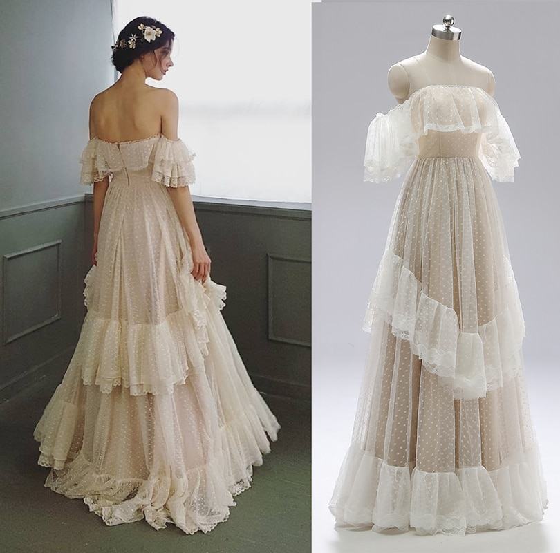 Promo Off Shoulder Polka Dots Wedding Dress 2021 Retro Tiered Lace Ruffle Victorian Rustic Backless Bridal Gown Custom Made Cheap 1041