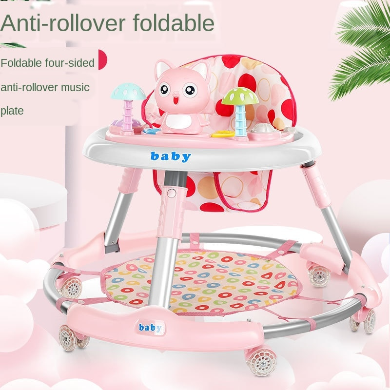 wholesale baby walker with 8 wheels anti runover multi function skating car with music toys learning walkers walking assistant New Children's Walker 6-24 Months Baby Walker Baby Multi-function Anti-rollover Foldable Walker with Music Feet Without battery