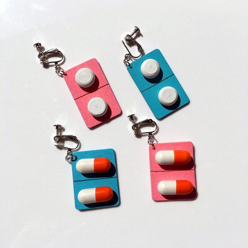 Zhijia, diseño creativo, lindo corazón femenino, pastillas de cápsula de madera, divertido, exagerado, gancho de oreja, Clip de oreja para mujer