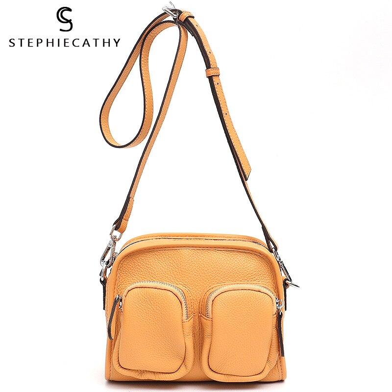 SC diseño de marca de mujer de cuero de vaca de bandolera de hombro cremallera bolsillos señoras funcional bolso de chica de moda bolso de Satchel