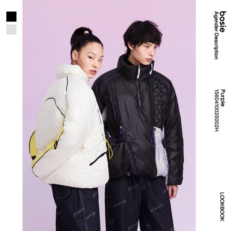 PURPLE bosie winter new down jacket woman/man stitching loose jacket foldable two-wear bread outwear tops couple 5002H