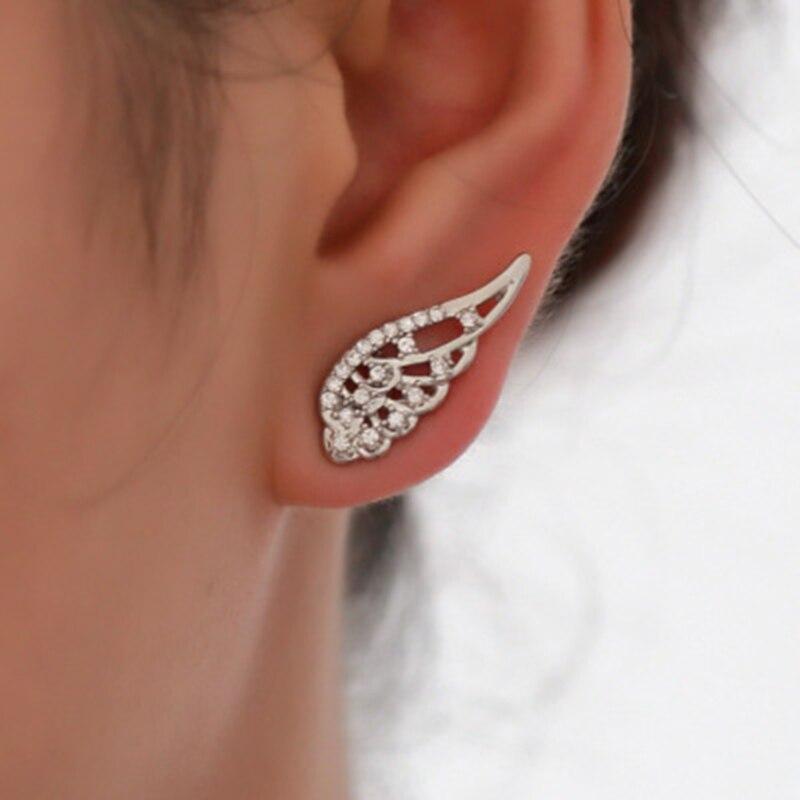 New Fashion Angel Wings Earrings Stainless Steel Stud Earrings for Woman Fashion Jewelry Dainty Gift Modern Luxury Trendy 2018