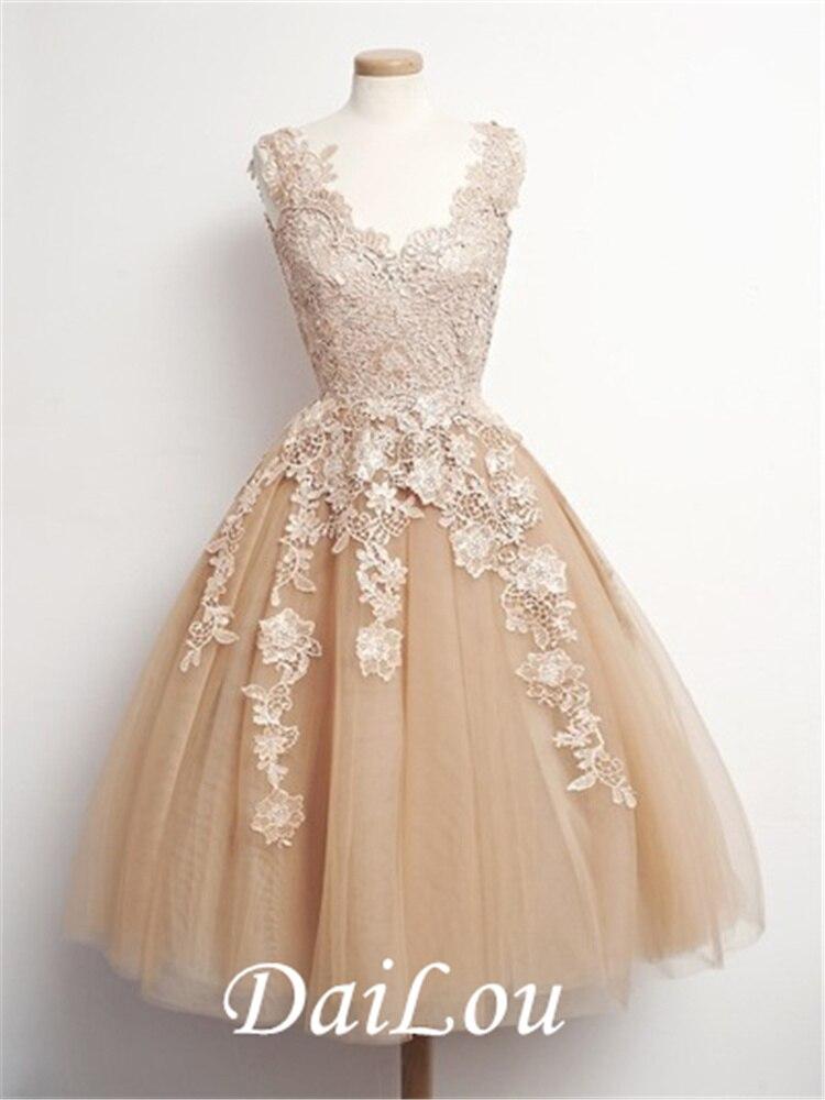 A-Line V-Neck  Lace Champagne Beach Wedding Dress Tea Length Bride Dress 2021 plain lace embroidery a line beach dress