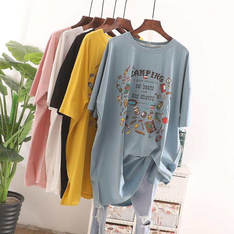 Summer Korea Fashion Women Short Sleeve Loose Long Tee Shirt Femme Tops Cartoon Print Casual Cotton O-neck Tshirt Plus Size S687