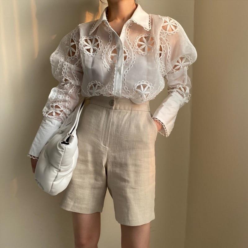 Alta qualidade bordado flor oco para fora camisa de algodão e blusa feminina manga longa v-neck babados drapeado pulôver