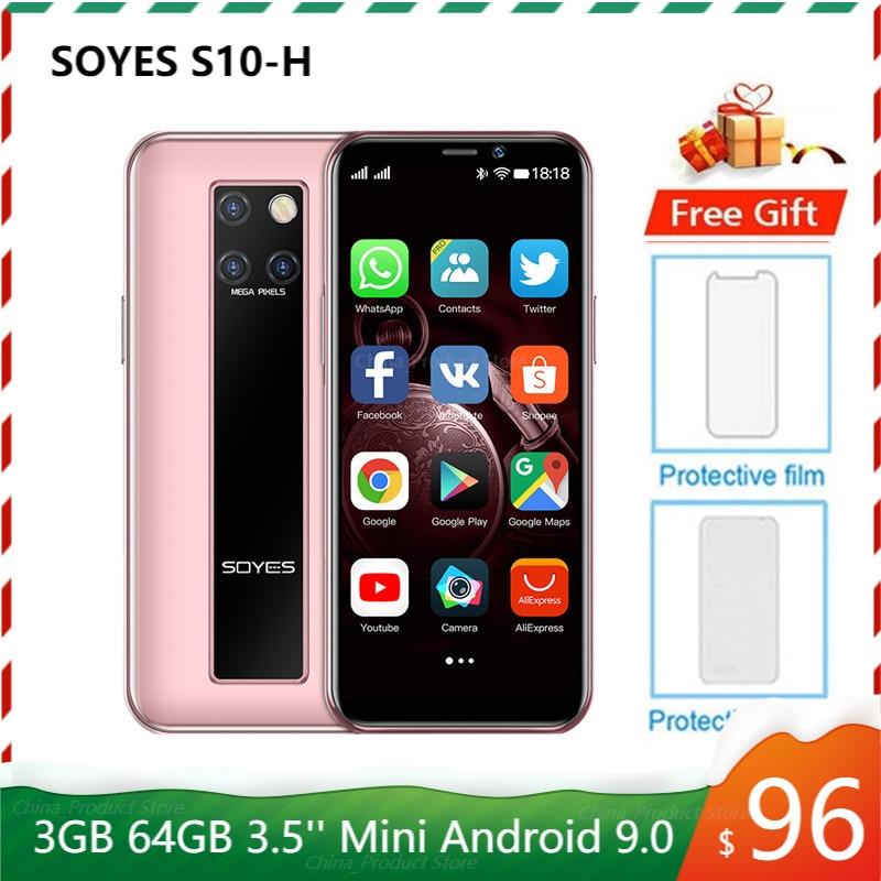 Смартфон SOYES S10-H Mini, мобильный телефон 4G LTE 3G ОЗУ 64 Гб ПЗУ, MTK6379, экран 3,5 дюйма, на базе Android 9,0, красивая 3 задняя камера