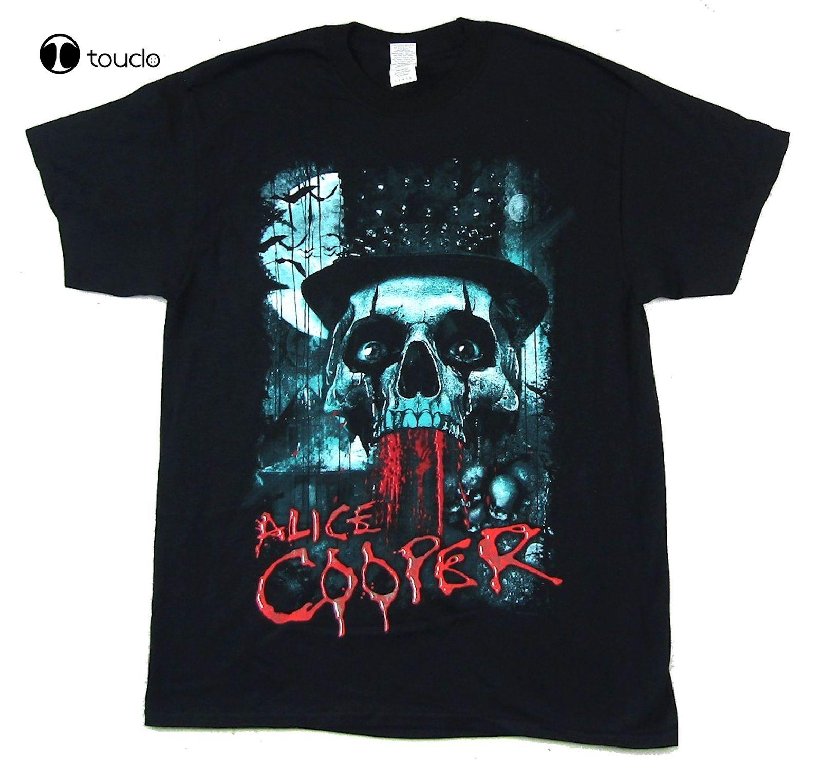 Camiseta negra con calavera de Alice Cooper, camisa oficial de algodón, nueva