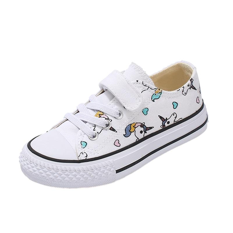 ¡Moda 2019! Zapatillas de lona de unicornio para niños, zapatos vulcanizados con arcoíris, zapatos grandes de velcro para niños, calzado plano para niñas, zapatillas deportivas