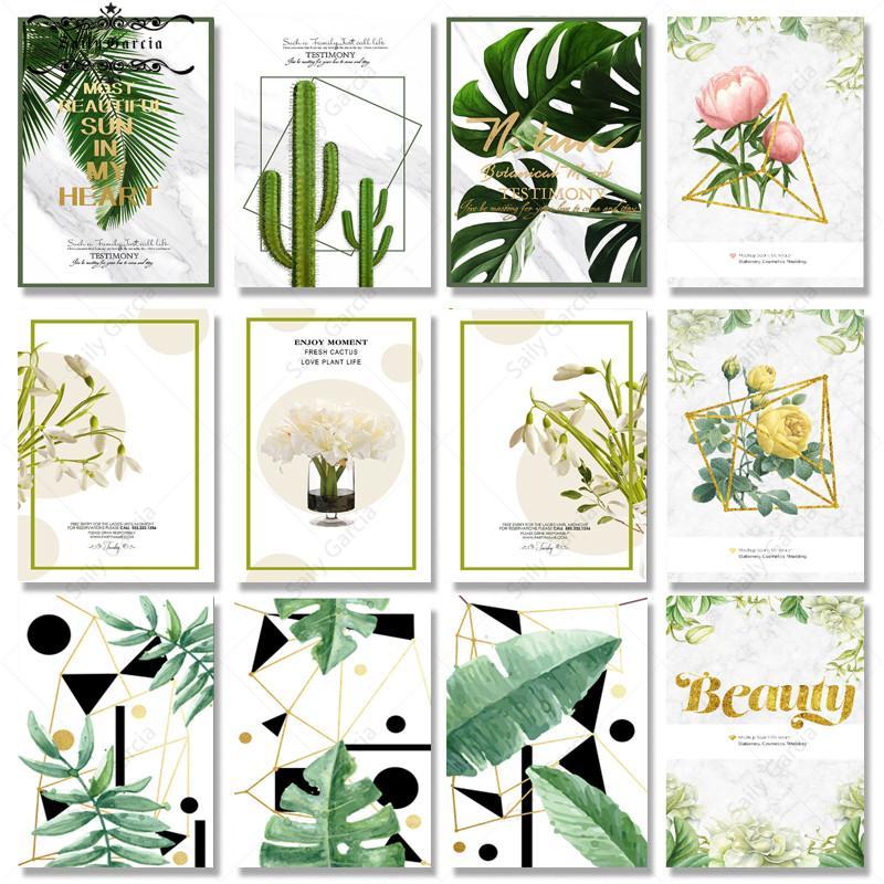 Póster de hojas tropicales para el hogar, pintura en lienzo de Cactus...