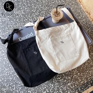 Women Canvas Shopping Bag Ladies Simple% Embroidery Bow Shoulder Strap Handbag Female Large Casual Crossbody Bag Student BookBag